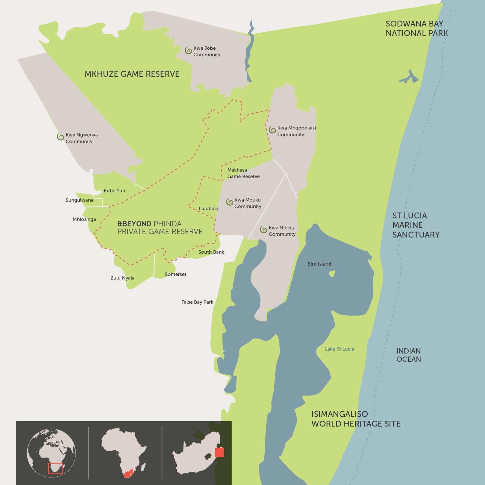 Carte de Réserve privée de Phinda