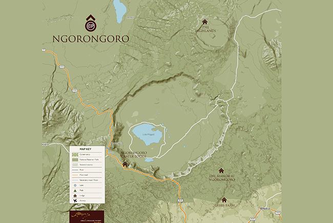 Carte de Cratère du N'Gorongoro