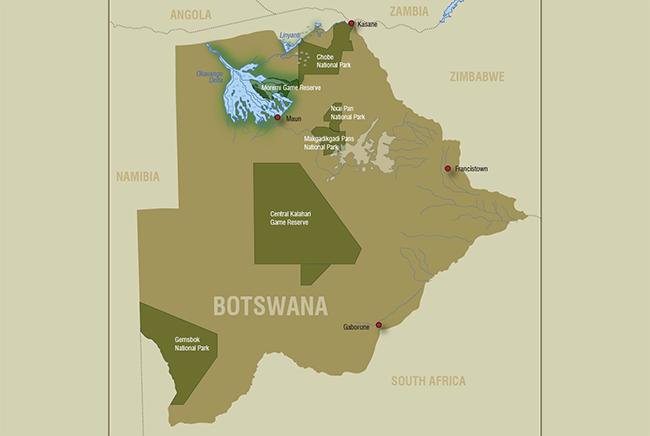 Carte de Delta de l'Okavango