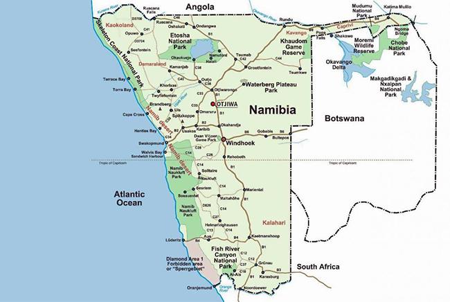 Carte de Désert du Namib