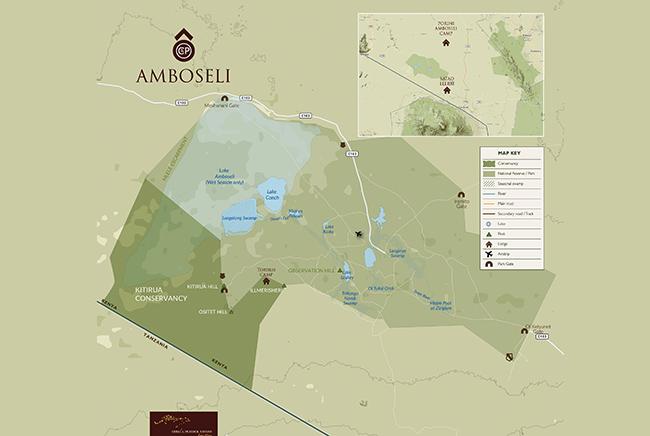 Carte de Parc National d'Amboseli