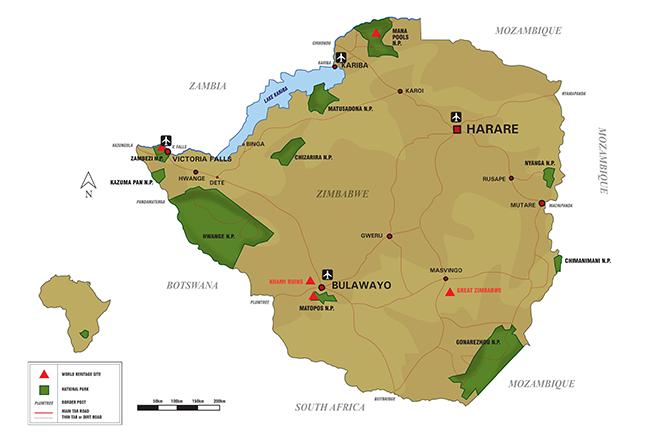 Carte de Parc National de Hwange