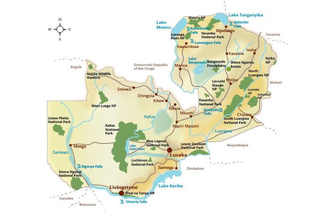 Carte de Parc National de la Kafue