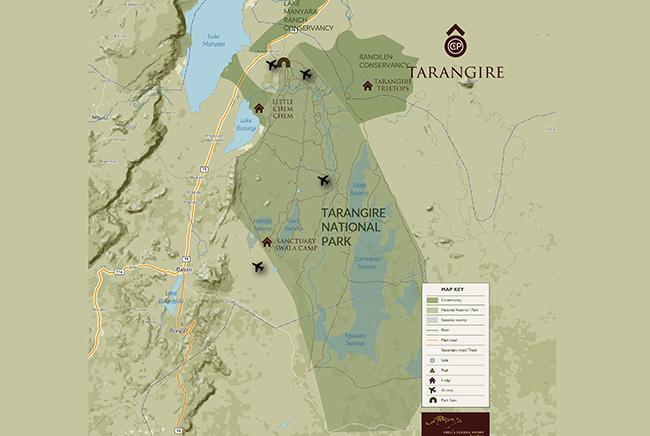 Carte de Parc National de Tarangire