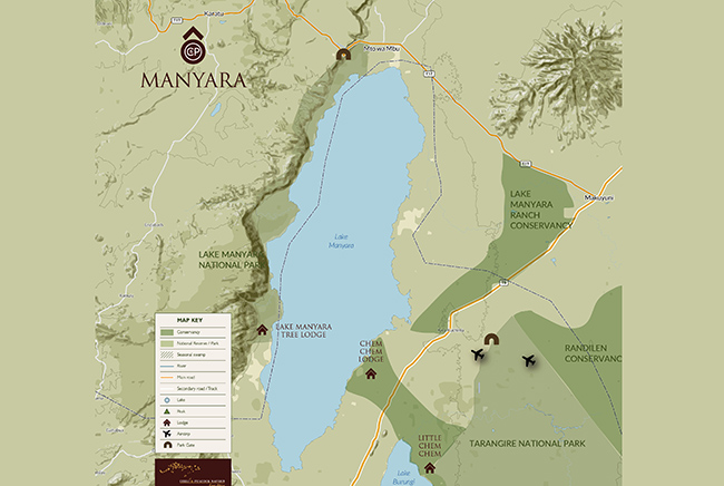 Carte de Parc National du Lac Manyara