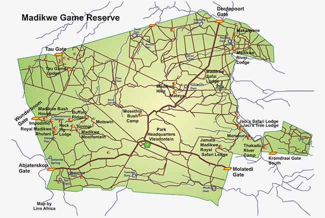 Carte de Réserve de Madikwe
