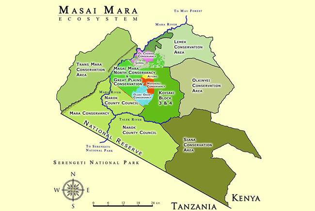 Carte de Réserve Nationale de Masaï Mara