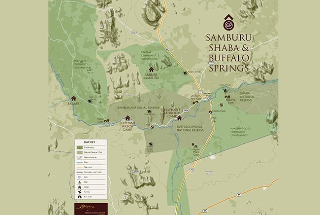 Carte de Réserves de Samburu et Shaba